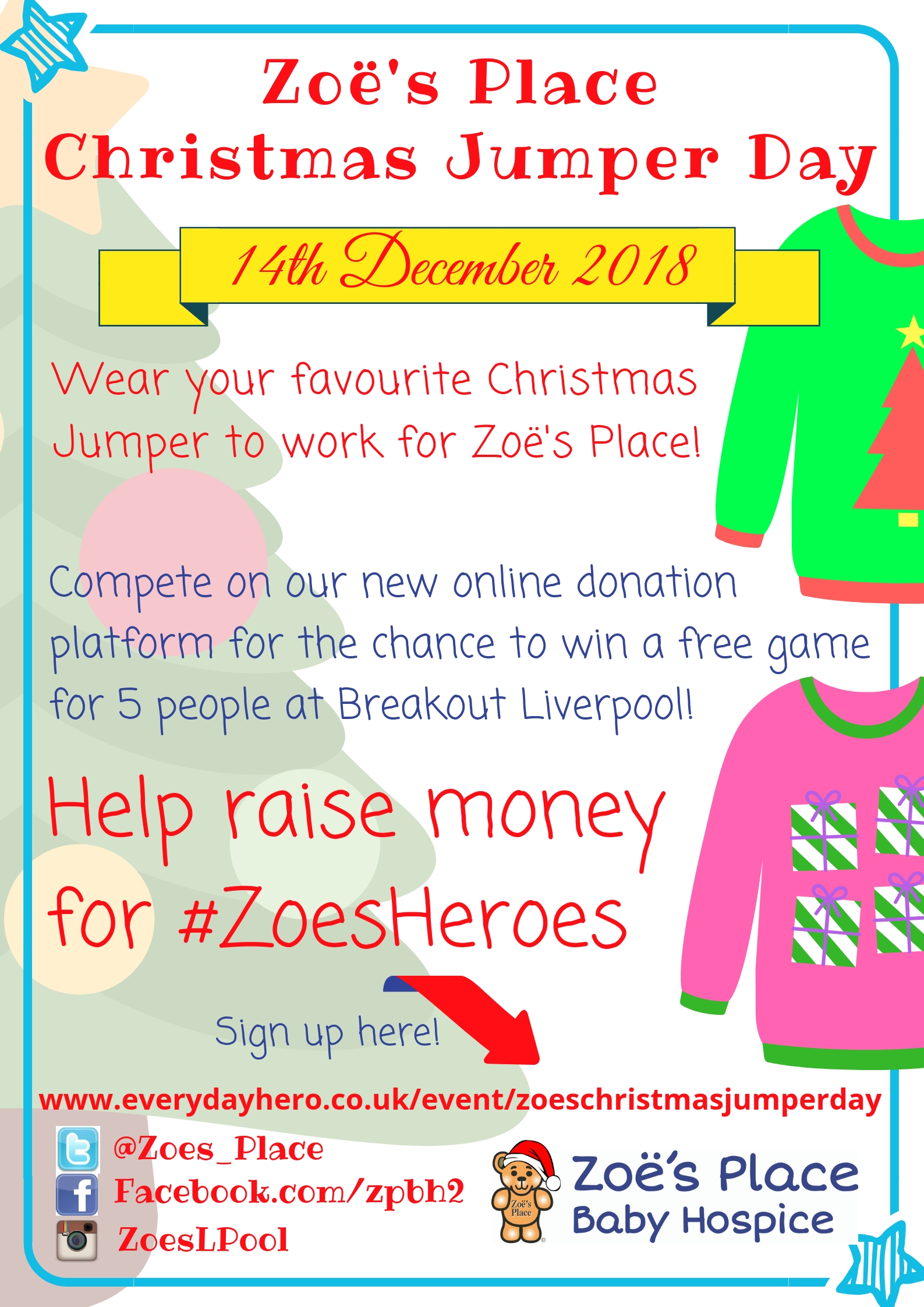 Christmas Jumper Day by Zoe's Place Baby Hospice - Liverpool fundraising photo 1