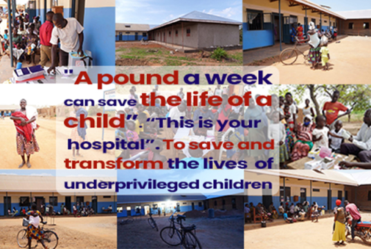 A £1 a week donation can save and transform the life of a child. This is your hospital. Please make a donation .   Together let's  make a lasting legacy of building a hospital with a £1 a week donation.  Thank you for donating. by Medaid United Kingdom cover photo